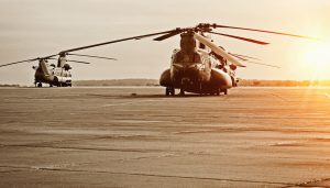 Chinook helicopter on military base